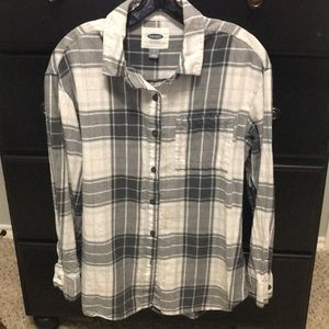Gray and white flannel Old Navy button down